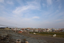 View Of Rankin Inlet, A Remote Arctic Community Located In Nunavut, In Summer Time With Blue Skies