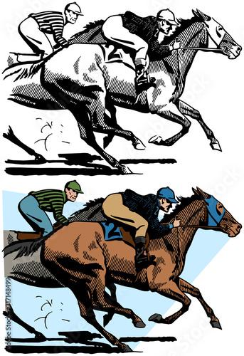 Obraz na plátně Two jockeys ride their horses in a close race.