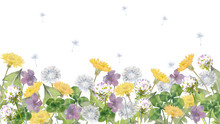 春の野原水彩画