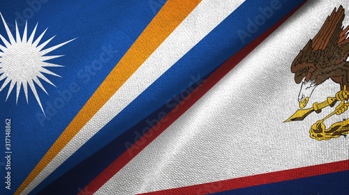 Photo Marshall Islands and American Samoa two flags textile cloth, fabric texture