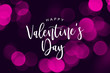 canvas print picture Happy Valentine's Day Holiday Text Over Pink Bokeh Lights Background