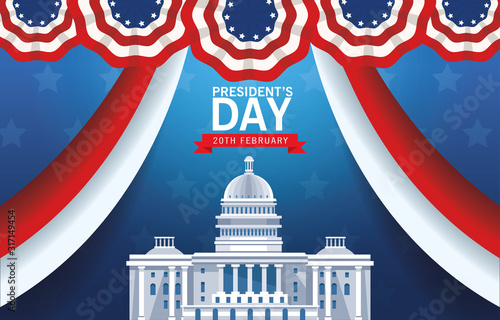 happy presidents day poster with usa capitol building and flag Tablou Canvas