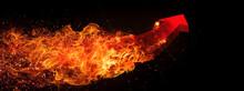 火を噴く抽象的な赤い...