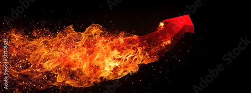 火を噴く抽象的な赤い矢印 Tablou Canvas