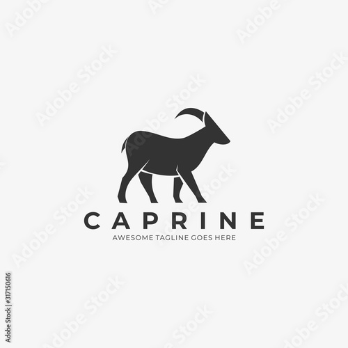 Vector Logo Illustration Goat Walking Silhouette Canvas Print