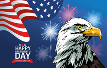Happy Presidents Day Poster With Eagle And Usa Flag