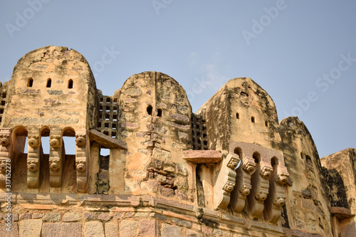 Fototapeta Old Ancient Antique Historical Ruined Architecture of Golconda Fort Walls