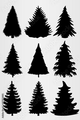 zestaw-dziewieciu-drzew-iglastych-zestaw-do-projektowania-roznych-prac-broszur-plakatow-itp