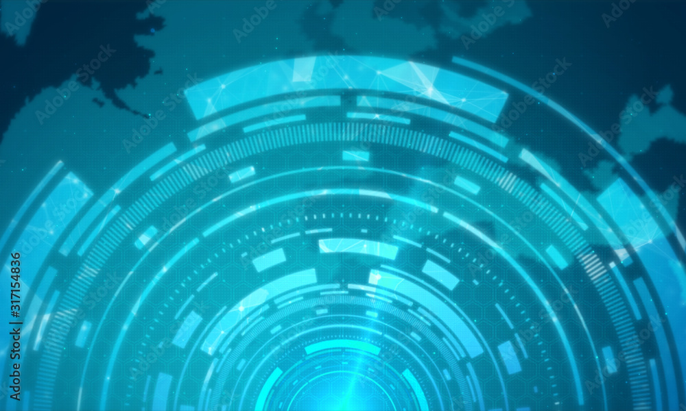 Fototapeta Technology circle abstract background.Hitech corporate concept