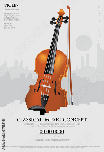 Cuadros en Lienzo The Classical Music Concept Poster Violin Vector Illustration
