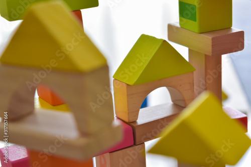Tela building wooden block toy geometric for kid learning development
