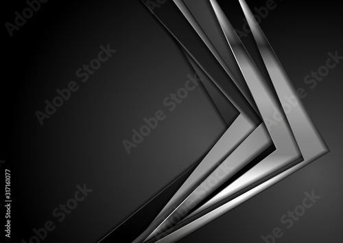Obraz Black and silver metallic stripes abstract corporate background. Vector technology design - fototapety do salonu