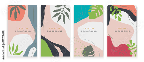 Fototapety, obrazy: Vector set of abstract creative backgrounds in minimal trendy style with copy space for text - design templates for social media stories - simple, stylish and minimal designs for invitations, banners