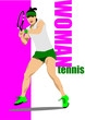 canvas print picture - Tennis player poster. illustration