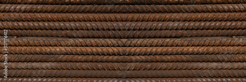 Steel iron metal rod construction, steel reinforcement bar background for building Fototapet