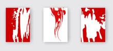 Red Ink Brush Stroke On White Background. Japanese Style.