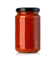 Tomato Sauce Jar On White