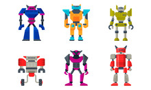 Transformer Robot Figures Isolated On White Background Vector Set