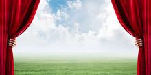Green Meadow Behind Red Curtai...