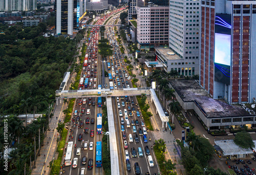 Heavy traffic stuck in a traffic jam in the Jakarta business district main avenue in Indonesia capital city, famous for its congestion