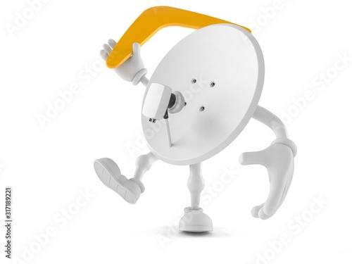 Photo Satellite dish character throwing boomerang
