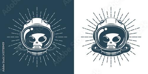 Alien in space helmet - vintage logo Canvas Print