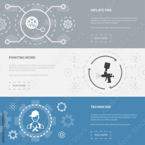 Fotomural car service 3 horizontal webpage banners template with inflate tire, painting work, technician concept icons