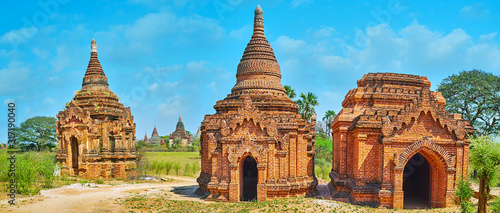 Photo Panorama with old shrines, Bagan, Myanmar
