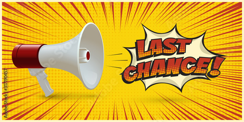 Megaphone announcing about last chance on yellow Canvas Print