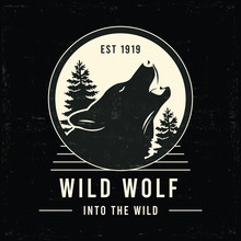 Old Wilderness Label With Wolf...