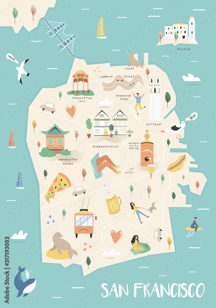 Fototapeta San Francisco illustrated city map with landmarks