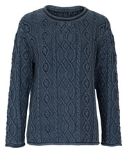 Navy Cable Knit Jumper With White Background