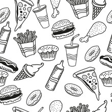 Fast Food Seamless Pattern. Burger, Pizza, Hot Dog, French Fries, Chicken Leg, Drink In Cup, Ice Cream, Cupcake, Donut, Ketchup Icons. Simple Black White Sketch. Street Food. Hand Drawn Vector