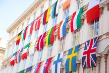Set Of European Flags Hanging ...