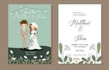 Cute Bride And Groom With Wedd...