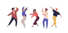 Set Of Dancing People Having Fun Isolated On White Background. Collection Of Smiling Male And Female In Colorful Clothing Enjoying Dance Party. Cartoon Dancers Vector Flat Illustration
