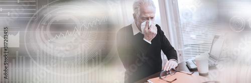 Obraz Senior businessman blowing his nose; panoramic banner - fototapety do salonu