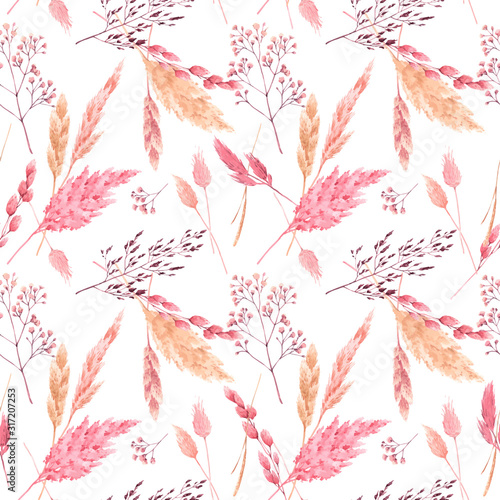 Beautiful vector seamless pattern with watercolor herbarium wild dried grass in pink and yellow colors. Stock illustration. Wall mural