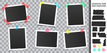 Set Of Photo Frame With Adhesive Tape. Photography Template With Color Strip. Realistic Mock Up. Design Elements For Album, Poster, Banner, Cover, Gift Card, Web Template. Vintage Art. Retro Picture