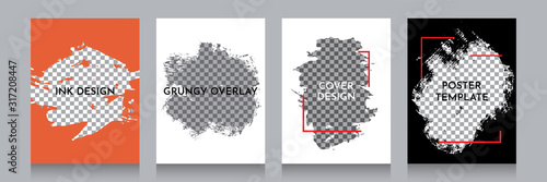Obraz Vector grunge overlay. Backgrounds set. Hand drawn abstract frame with Memphis pattern elements. Ink brush strokes mess. Design for flyer, banner, poster, invitation, gift card, coupon, book cover. - fototapety do salonu