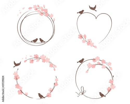 Fototapeta Frames for Wedding invitation. Set vector design elements on the theme of flowering and spring obraz