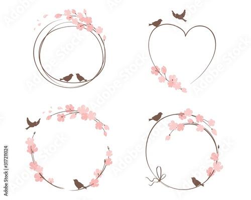 Obraz Frames for Wedding invitation. Set vector design elements on the theme of flowering and spring - fototapety do salonu