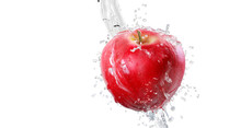 Apples In Splash Of Water Isol...