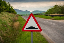 Street Sign - Uneven Road, On The Way To Grimwith Reservoir, North Yorkshire, England, UK