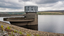 The Outlet Tower And Spillway Of The Grimwith Reservoir Near Howgill, North Yorkshire, England, UK