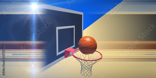 Photo Abstract background  basketball backboard and ball with lines