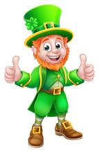 A Leprechaun St Patricks Day Cartoon Character Mascot Giving A Thumbs Up