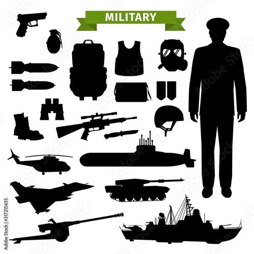 Fotografia, Obraz Military ammunition, transport, gun and officer isolated black silhouettes