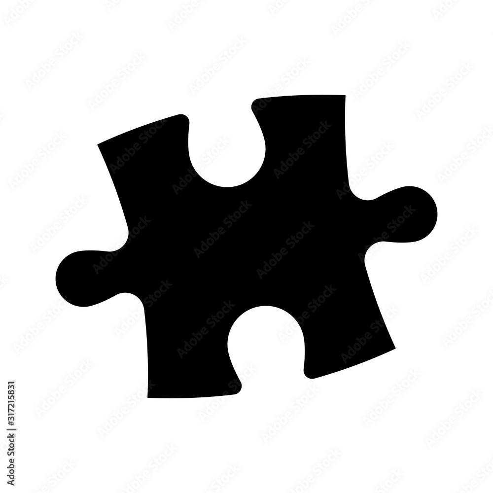 Fototapeta Single piece of jigsaw puzzle. Simple flat black vector silhouette