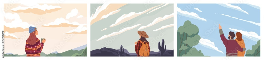 Fototapeta Set of people looking at sky colored vector illustration. Concept of opportunity observation, inspiration and romantic. Backpacker traveling cartoon composition